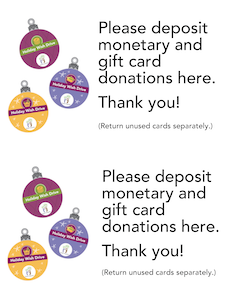 Cash gift card donations sticker